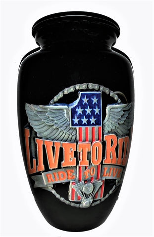 """ Live to Ride "" Cremation urn 