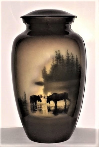 Moose in the Meadow Cremation Urn