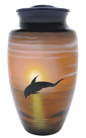 Dolphins in Flight Hand Painted Cremation Urn |Themed Beach Cremation Urn | Themed Ocean Cremation Urn
