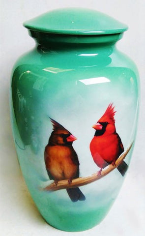 Low Cost Cardinal  Cremation Urn | Beautiful male and Female Cardinal | Vision Medical