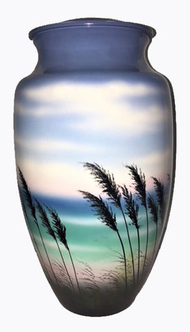 Sea Breeze beach scene cremation urn | Looking through Sea Oats onto Beach | Vision Medical