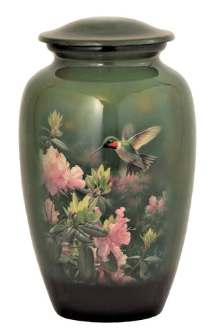 Hummingbird on Flowers Cremation Urn
