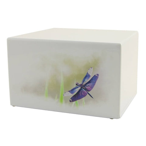 Great Value White MDF Dragonfly Urn | Value Adult Urn | Low Cost Wood Urn | Somerset Dragonfly Urn