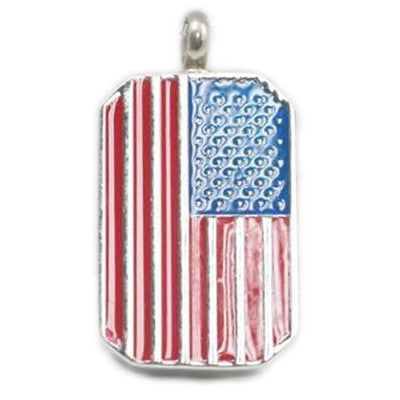 American Flag Dog Tag Cremation Pendant