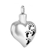 Stainless Steel Black Footprints on the Sand Cremation Pendant | Vision Medical