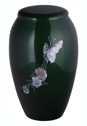Green Mother of Pearl Butterfly Cremation Urn