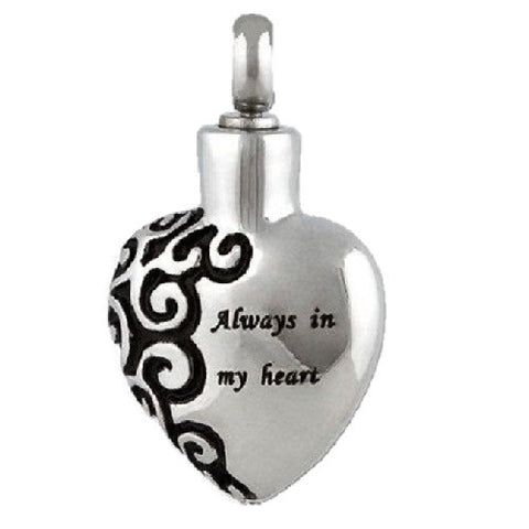 Stainless Steel Always in My Heart Cremation Pendant