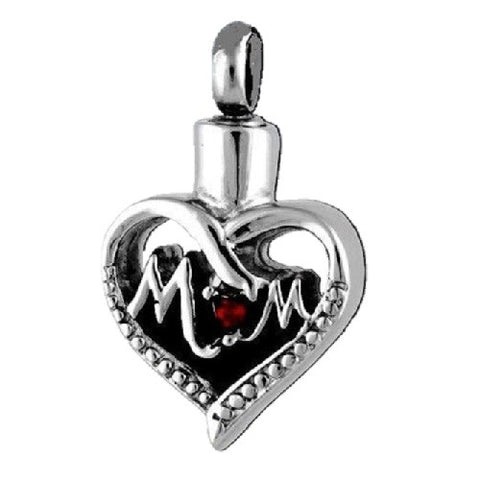 Stainless Steel  MOM Heart Cremation Pendant