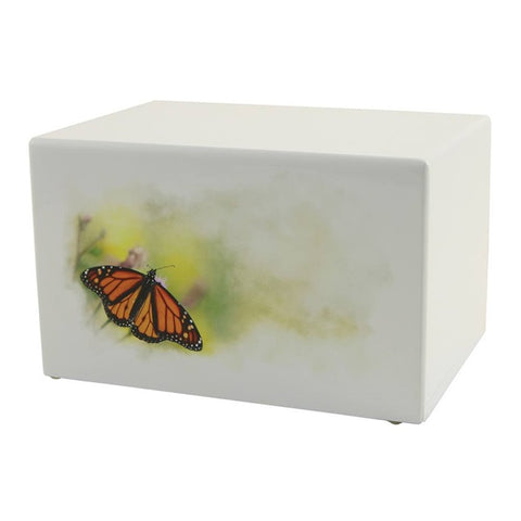 Great Value White MDF Monarch Urn | Value Adult Urn | Low Cost Wood Urn | Somerset Butterfly Urn