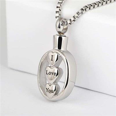 "Stainless Steel ""I Love You"" Cremation Pendant"