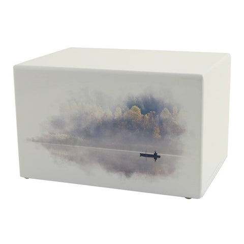 low cost nautical cremation urn | boat in calm waters | Vision Medical