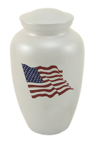 White Classic Flag Cremation Urn