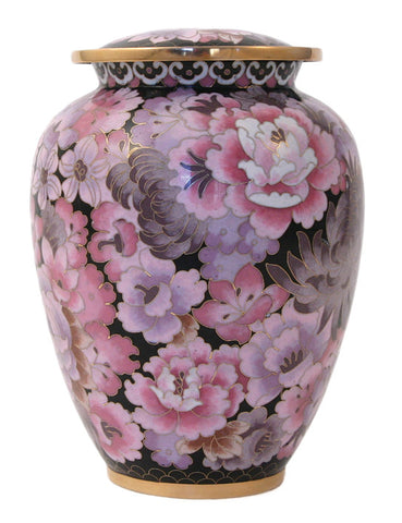 Floral Blush Elite Cloisonne Cremation Urn
