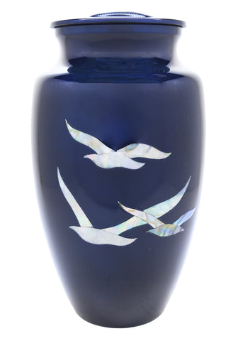 Mother of Pearl Going Home Doves Cremation Urn | Vision Medical