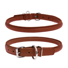 Load image into Gallery viewer, Soft Brown Round Leather Collar