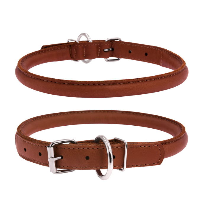 Soft Brown Round Leather Collar