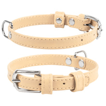 Load image into Gallery viewer, Beige Glamour Leather Dog Collar