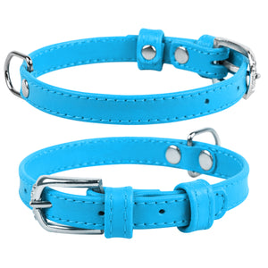 Blue Glamour Leather Dog Collar