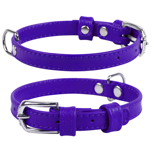 Violet Glamour Leather Dog Collar