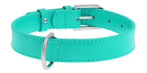Mint Glamour Leather Dog Collar