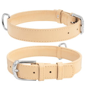 Beige Glamour Leather Dog Collar
