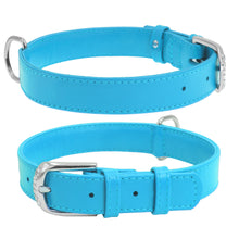 Load image into Gallery viewer, Blue Glamour Leather Dog Collar
