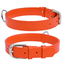 Load image into Gallery viewer, Orange Glamour Leather Dog Collar