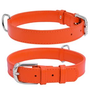 Orange Glamour Leather Dog Collar
