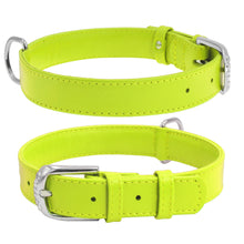 Load image into Gallery viewer, Green Glamour Leather Dog Collar