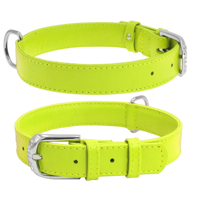 Green Glamour Leather Dog Collar