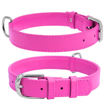 Load image into Gallery viewer, Pink Glamour Leather Dog Collar