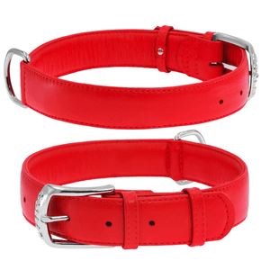 Red Glamour Leather Dog Collar