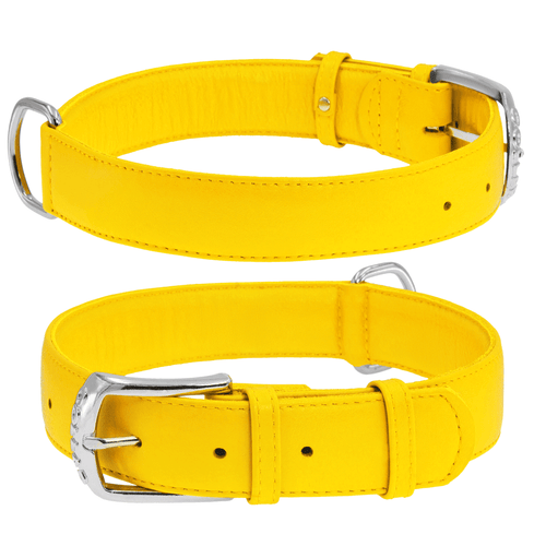 Yellow Glamour Leather Dog Collar