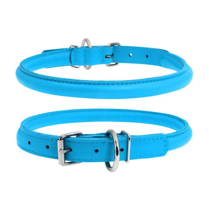 Glamour Blue Round Dog Collar
