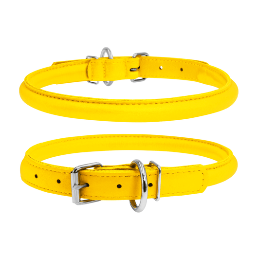 Glamour Yellow Round Dog Collar