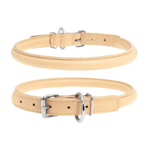 Glamour Beige Round Dog Collar