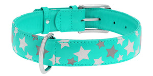 Mint Star Print Glamour Collar (reflective, high-visibility pattern)