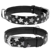 Load image into Gallery viewer, Black Star Print Glamour Collar (reflective, high-visibility pattern)