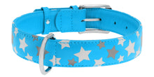 Load image into Gallery viewer, Blue Star Print Glamour Collar (reflective, high-visibility pattern)