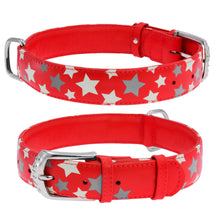 Load image into Gallery viewer, Red Star Print Glamour Collar (reflective, high-visibility pattern)