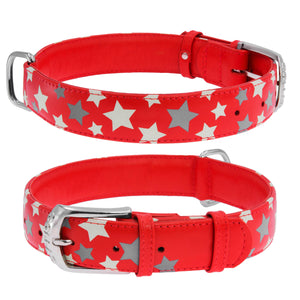 Red Star Print Glamour Collar (reflective, high-visibility pattern)