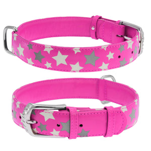 Pink Star Print Glamour Collar (reflective, high-visibility pattern)