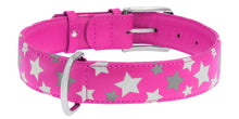 Load image into Gallery viewer, Pink Star Print Glamour Collar (reflective, high-visibility pattern)