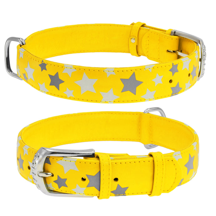 Yellow Star Print Glamour Collar (reflective, high-visibility pattern)