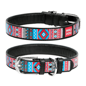 "Black Dog collar with the ""Ethno"" pattern"