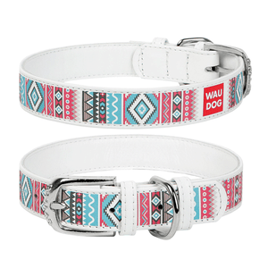 "White dog collar with the ""Ethno"" pattern"