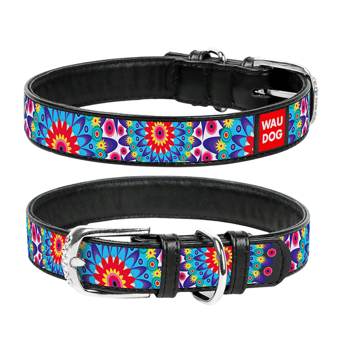 "Black dog collar with the ""Flowers"" pattern"