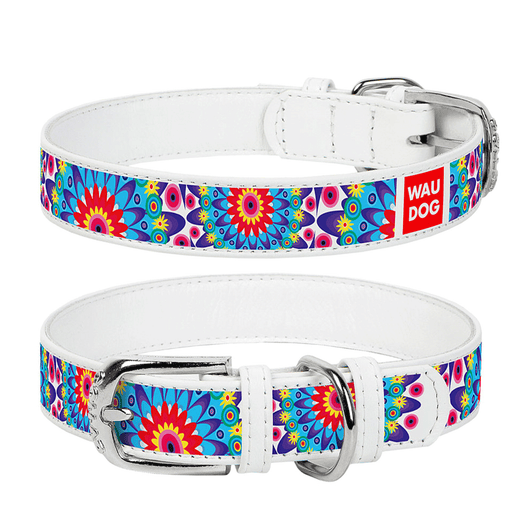 "Dog collar with the ""Flowers"" pattern"