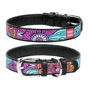 "Black dog collar with the ""Summer"" pattern"