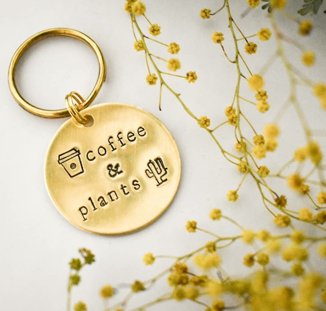 Coffee and Plants Keyring